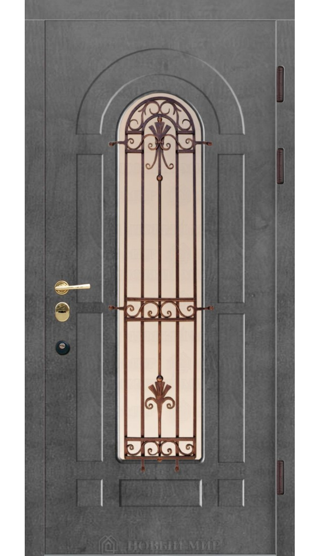 Входные двери Новый мир со стеклом и ковкой