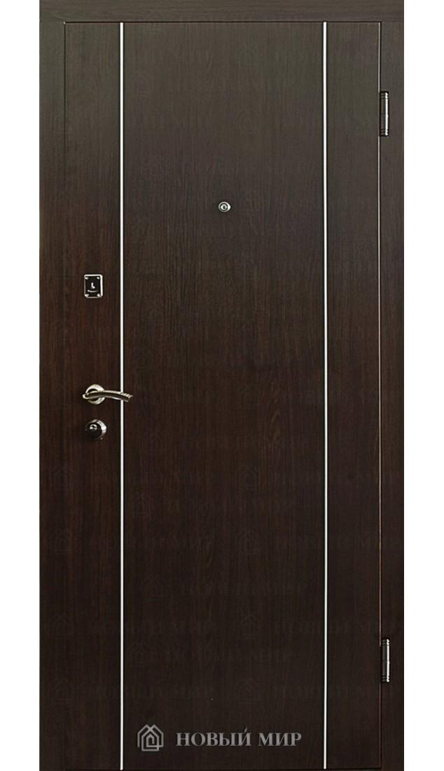 Входные двери Новый мир 9000-02 с вертикальным алюм.молдингом