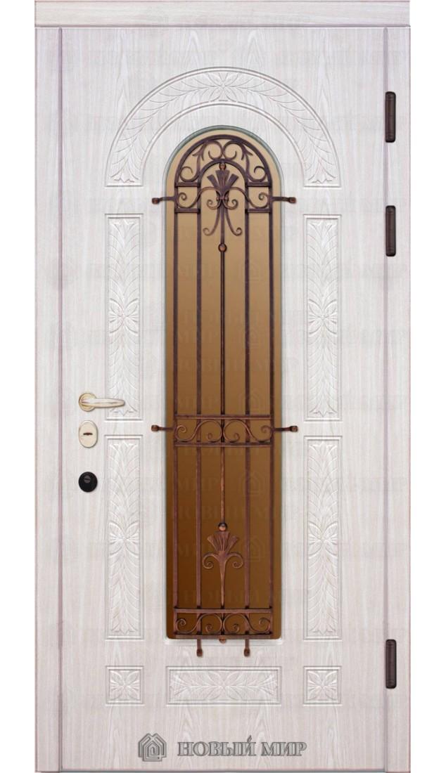 Входные двери Новый мир Флоренция с резьбой, с/п и решеткой