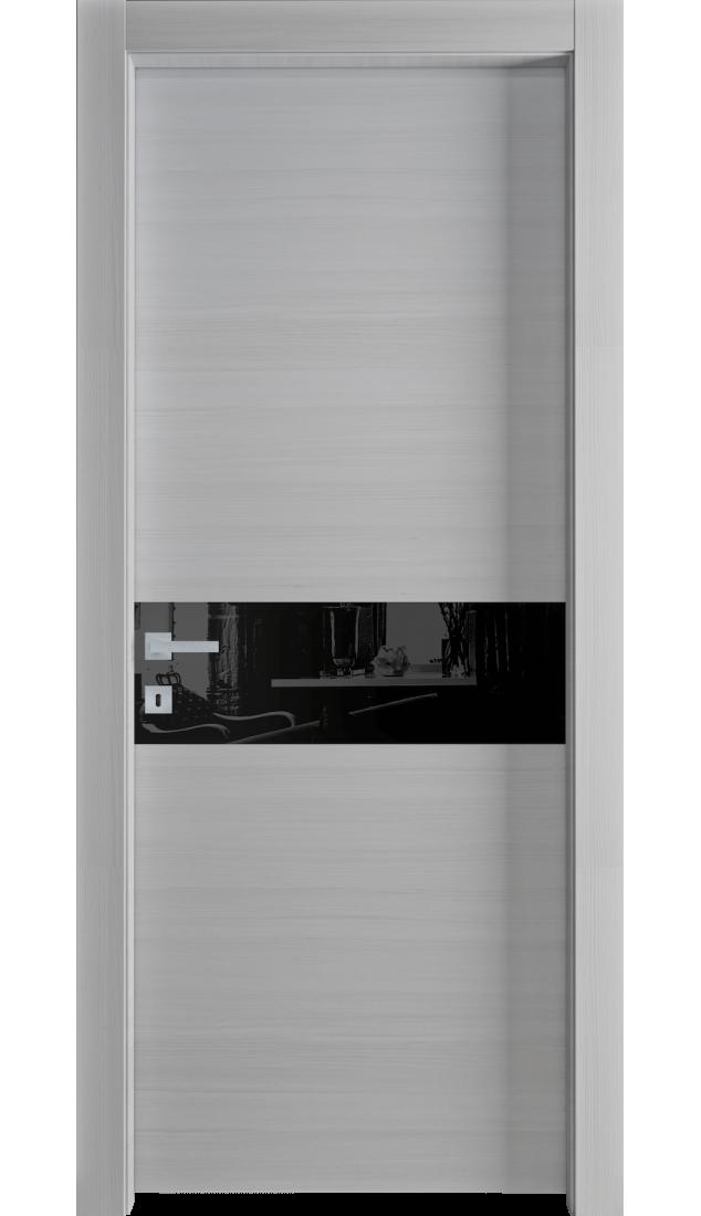 Межкомнатные двери Alberoporte VS03 ( серые с чёрным стеклом)